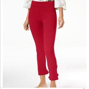 INC Red Ruffled Hem Ankle skinny Pants. Size 12.